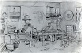 View [Scene in J.S. Aoki Family barracks, Utah : sketch.] digital asset: Silver photoprint: Copy of sketch by Mrs. Ella Honderich of J. S. Aoki family barracks in Topaz, Utah, 1944. Print dated October 1, 1945.