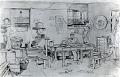 View [Scene in J.S. Aoki Family barracks, Utah : sketch.] digital asset: Silver photoprint: Copy of sketch by Mrs. Ella Honderich of J. S. Aoki family barracks in Topaz, Utah, 1944. Print dated October 1, 1945.