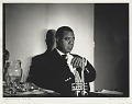 View Louis Armstrong -- Paris [backstage at Olympia Theatre,] [photoprint, black-and-white] digital asset: Armstrong, Louis; Backstage of Olympia Theatre, Paris, 1960