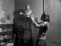 View [Woman playing trumpet : black-and-white photonegative] digital asset: untitled