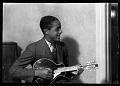 View [Man playing mandolin] [cellulose acetate photonegative] digital asset: untitled