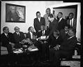 View Alpha Phi Alpha Men Chapter (group and plaque presentation to Dr. Callis), March 1964 [cellulose acetate photonegative] digital asset: untitled