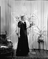 View [Mrs. Vann (?) standing in parlor with bird cage : acetate film photonegative.] digital asset: untitled