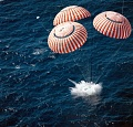 Apollo 16 spacecraft touches down in the central Pacific Ocean