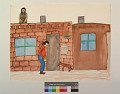 View Woman Drying Peaches on Roof. Man Feeding a Dog. digital asset number 0