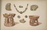 Pieces of rough pottery found in excavating temple. Various objects found at foot of monolith H.