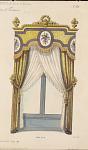 Tentures de croisées Louis XVI. Bois doré.