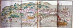 Large illustrated foldout - medieval city on hill