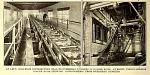 Conveyor distributing coal to overhead bunkers in boiler room