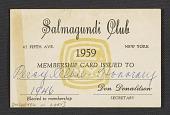 view Percy Albee's Salmagundi Club membership card digital asset number 1