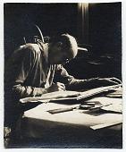 view James E. Allen drawing at a desk digital asset number 1