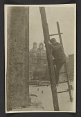 view Unidentified man erecting ladders to measure and inspect architectural components of the San Marco Basilica in Rome digital asset number 1