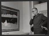 view Major General Lemuel Mathewson viewing Milton Avery&apos;s painting <em>Bather</em> digital asset number 1