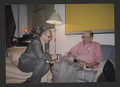 view André Emmerich seated with Clement Greenberg on Greenberg's 85th birthday digital asset number 1