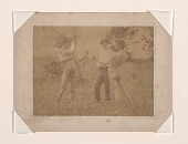 view Figure study using men posed as boxers standing in a field digital asset number 1