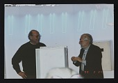 view Photograph of Stephen Antonakos and Sol LeWitt at the Time Boxes 2000 event digital asset number 1