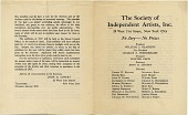 view Exhibition catalogue of The Society of Independent Artists digital asset: page 1