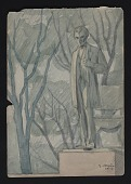 view Watercolor sketch of sculpture of Abraham Lincoln in Lincoln Park, Chicago digital asset number 1