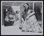 view Photograph of Frida Kahlo with <em>The Love Embrace of the Universe, the Earth (Mexico), Myself, Diego, and Señor Xolotl</em> digital asset number 1