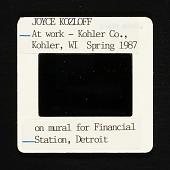 view Photograph of Joyce Kozloff at work in Kohler, Wisconsin on mural for Financial Station, Detroit digital asset number 1