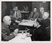 view Meeting of the Famous Artists' School, Westport, Connecticut. Clockwise from lower left: Ernest Fiene, Doris Lee, Ben Stahl, Stuart Davis, Adolf Dehn, Arnold Blanch, and Will Barnet digital asset number 1
