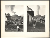 view Two views of a smoking volcano as seen from a Mexican village digital asset number 1