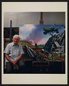 view Peter Blume in his studio with his painting <em>Spring</em> digital asset number 1