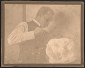 view Solon Borglum working on his sculpture <em>In the wind</em> digital asset number 1