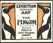 view Exhibition announcement for a show of contemporary art at the Penguin club digital asset number 1
