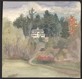 view Nancy Douglas Bowditch watercolor of her Dublin, N.H. home digital asset number 1