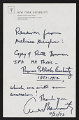 """view Ruth Bowman papers digital asset: Thesis, """"Thomas Pollock Anshutz, 1851-1912,"""" Institute of Fine Arts, New York University"""