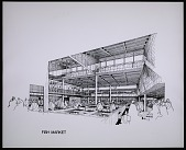view Photograph of architectural rendering of the Fish Market, part of the Mideast Market in Kuwait digital asset number 1