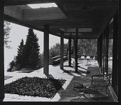 view Photograph from first floor of covered terrace looking West, Koerfer House, Moscia, Switzerland digital asset number 1