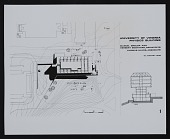 view Photograph of plans for cross section and elevation of Physics Building, University of Virginia digital asset number 1
