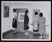 view Visitors at <em>Paintings by Negro WPA Artists</em>, Crosby Garfield Extension Gallery, Raleigh Art Center digital asset number 1