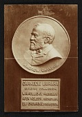 view Bronze portrait medallion of Andrew Carnegie in the Carnegie Library digital asset number 1