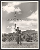 view Edward Chavez with Bronze Cross for Episcapal Chape, in Woodstock, New York, 1950. Photograph by Robert Sewall. digital asset number 1
