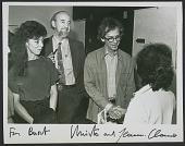 view Jeanne-Claude, Burt Chernow, and Christo at the <em>Wrapped coast</em> exhibition, Westport Connecticut digital asset number 1