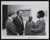 view Ruth Jett, Ernest Crichlow, and Stan Lundine at exhibition opening reception digital asset number 1
