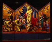 view A triptych by Kenneth Hudson created as a portable altarpiece for the US armed forces digital asset number 1