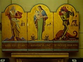 view <em>God's Will is Law</em> triptych by Auriel Bessemer created as a portable altarpiece for the US armed forces digital asset number 1