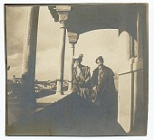 view Eliot Clark and an unidentified companion at La alhambra, Granada, Spain. digital asset number 1