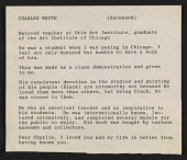 view Cleo Dorman notes on Charles White digital asset number 1