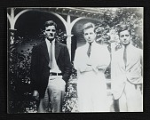 view Calvert Coggeshall and two unidentified men in front of the Gamwell house in Pittsfield, Massachusetts digital asset number 1