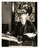 view Charles Connick working on a stained glass design digital asset number 1