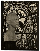 view Wooden bust of Charles Connick before one of his stained glass windows digital asset number 1