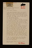 view Ray Johnson letter to Joseph Cornell digital asset number 1