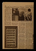 """view Article clipped from <em>New York Times</em>, """"Youths laud Cooper Union 'adult' art"""" digital asset number 1"""