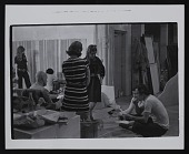 view Photograph of Gene Davis and art students preparing for <em>Giveaway</em> exhibition at Mayflower Hotel, Washington, DC digital asset number 1