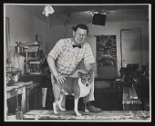 view Roy De Forest in his studio with his dog King digital asset number 1